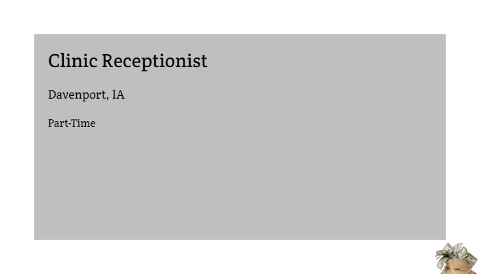 Clinic Receptionist Robert Half International Davenport Ia Part