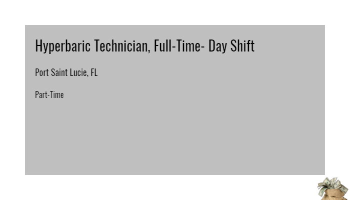 Hyperbaric Technician Full Time Day Shift Medical City Las Colinas