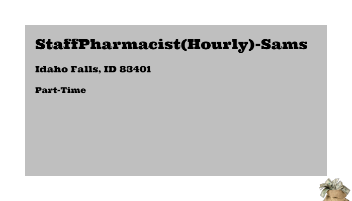 Staffpharmacist Hourly Sams Sam S Club Idaho Falls Id 83401 Part