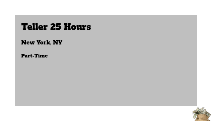 Teller 25 Hours Wells Fargo New York NY